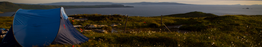 A tent pitched at the northern-most point on the Isle of Skye. A beautiful place to see the sunset, if a bit boggy.