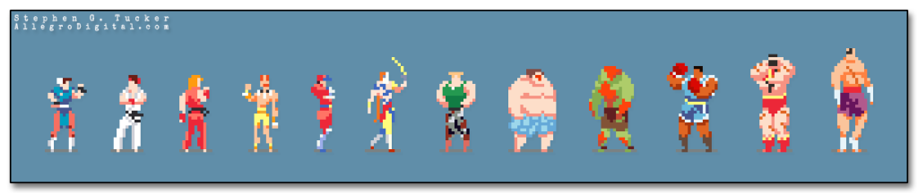 Street Fighter II fan art done in a retro pixel style